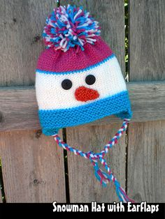 Knitting Snowman Hat with Earflaps for the Family