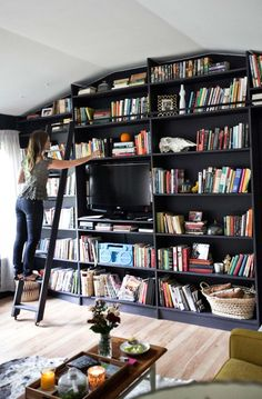 Bookshelf wall! abeautifulmess.com