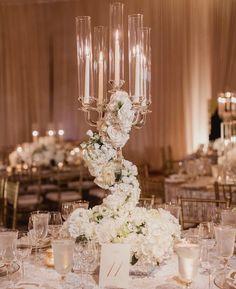 Unique floral candelabra centerpiece Candelabra Flowers, Gold Candelabra, Candelabra Centerpiece, Centrepieces, Floral Wedding Decorations, Wedding Centerpieces, Table Decorations, Wedding Ideas, All White Wedding