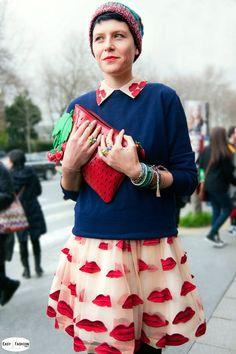 Turn a cute dress into an even cuter skirt by adding a sweater.