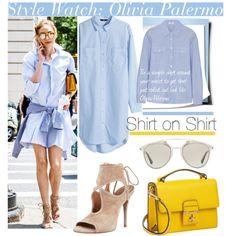 Shirt on Shirt with Olivia Palermo.. by nfabjoy on Polyvore featuring moda, H&M, Frame Denim, Aquazzura, Dolce&Gabbana, Christian Dior, shirtdress, OliviaPalermo and CelebrityStyle