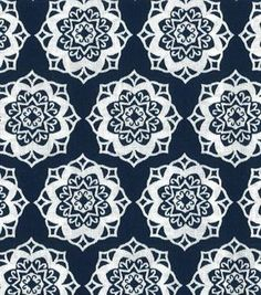 Quilter's Showcase Cotton Fabric-Medallion Navy/White