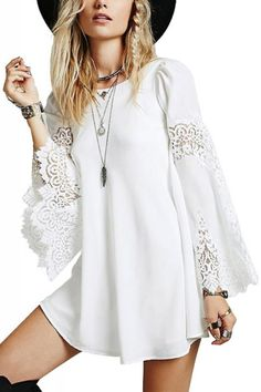 White Lace Splicing Round Neck Long Sleeve Shift Dress