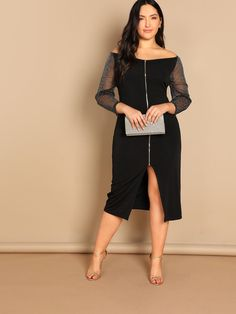 f9f1d95ba Plus Off Shoulder Mesh Sleeve Zip Up Dress - black