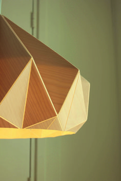 New collection Snowpuppe 2015. Wooden Chestnut lamp. Made from birch wood veneer and paper.