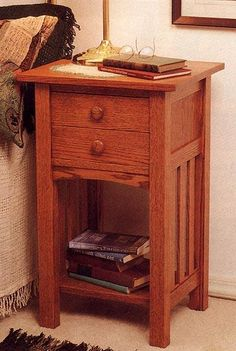 Arts and Crafts End Table/Nightstand Woodworking Plan from WOOD Magazine I like it but would want a single drawer Arts And Crafts Furniture, Furniture Projects, Furniture Plans, Furniture Making, Wood Furniture, Living Room Furniture, Furniture Design, Antique Furniture, Craftsman Style Furniture