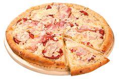 Пицца Сицилия с бортиком из сосисок 30см за 390р. - доставка пиццы в Кемерово из ресторана Фарфор