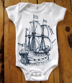 Screen Printed American Apparel Baby Onesie - Nautical Pirate Ship Illustration - Eco Friendly Cotton One Piece