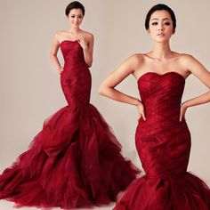 vera wang style new red beauty was thin fish tail trailing Korean wedding dresses advanced customization - Taobao