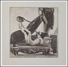 Franz von Bayros (1866-1924), Salome mit dem Haupte spielend.
