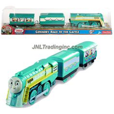 Thomas and Friends Trackmaster Motorized Railway 3 Pack Train Set - CONNOR'S RACE TO THE CASTLE (Y3347) with Cargo Car and Passenger Car