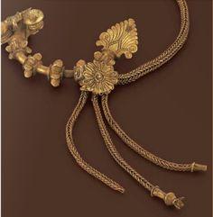 Pair of fibulae and chain, northern Greek 4th century B.C.