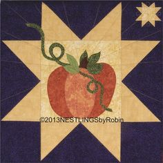 "Pumpkin Star wall hanging, 24 x 24"", pattern at Nestlings by Robin"