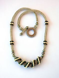 Bead Twist Necklace in Silver and Green by preciousbead, via Flickr