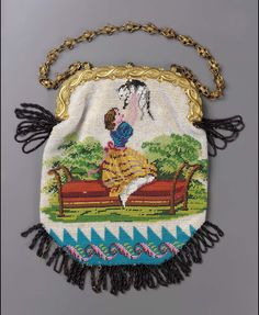 Bag. Beadwork on cotton foundation. Polychrome design on white ground: girl on bench holding kitten, decorative border on blue ground below (obv.); floral spray (rev.). Yellow metallic frame with design on intertwining serpents, stud closure, chain. Burgundy-colored bead fringe. Blue silk lining.