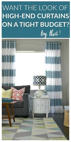 Easy to follow sewing tutorial - how to make grommet top curtains using fabric shower curtains.  via @heytherehome #sewingcurtains