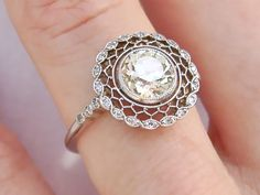 ANTIQUE STYLE 1.18ct EUROPEAN CUT CENTER DIAMOND PLATINUM RING
