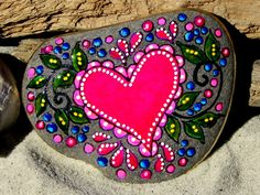 Blissful Heart / Painted Rock / Sandi Pike Foundas / Cape Cod. $48.00, via Etsy.