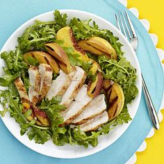 Budget meal planning: Kid-friendly dinners | Grilled Chicken, Peach and Arugula Salad | AllYou.com