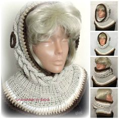 Beige Hooded Scarf, Chunky Cowl, Infinity Hood Scarf, Knit Hood Hat, Hoodie Hood, Gift For Her, Winter Women Accessories With Button by GalinaHandmade on Etsy