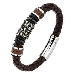 THE SAINT BRACELET Steel Fleur De Lis Bead Brown Leather Bracelet