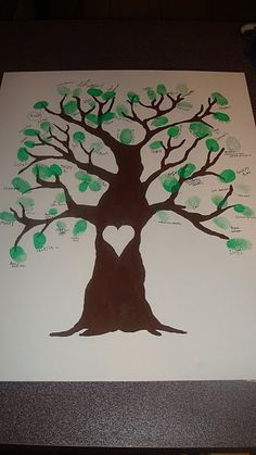 Canvas painted tree we did for Isaacs adoption party, which could also be done for a wedding or baby shower. We had guests stamp their green thumb and write name beside it and voila Isaac had a new beautiful tree full of people who loved him!