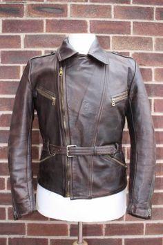 Vtg 1940s HAELSON Horsehide Leather Cyclist Jacket German LUFTWAFFE Small/Medium