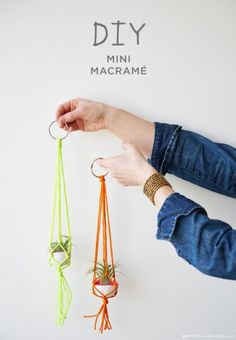 Easy Macrame Projects for the Beginner : Mini Bright Colors Macrame Plant Hanger