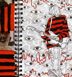 even more kurt cobain drawings 👏 Arte Grunge, Grunge Art, Cool Art Drawings, Art Drawings Sketches, Indie Drawings, Music Drawings, Pretty Art, Cute Art, Arte Obscura