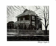 Dom XIV (Home XIV), linocut 2004  #linocut #linoryt #print #printing #druk #drukowanie #uljado
