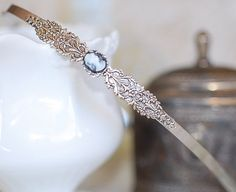 Filigree Petite Cameo Hairband  SIlver crystal by Hollywoodbabe, $28.00
