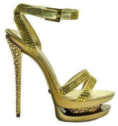 Gianmarco Lorenzi leather sandals embellished with yellow gold swarovski crystals.