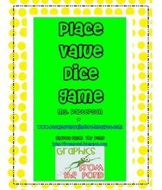Place value dice game...freebie.