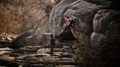 Lisa Rands by Andrew Kornylak. Lisa Rands climbs perfect riverside sandstone at Little River Canyon in Alabama. The face is about V7, the high arete goes at about V9.