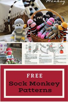 FREE Sock Monkey Patterns. Find this and hundreds of other Free Sewing Patterns and Tutorials at www.peekaboopages...!