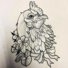 Image result for neo traditional chicken Traditional Tattoo Drawings, Traditional Tattoo Design, Rooster Tattoo, Rooster Art, Tattoo Designs, Tattoo Design Drawings, Modern Tattoos, Black Tattoos, Huhn Tattoo
