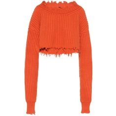 Unravel Wool-Blend Sweater ($1,160) ❤ liked on Polyvore featuring tops, sweaters, orange, white sweater, unraveled sweater, orange sweater, wool blend sweater and orange top