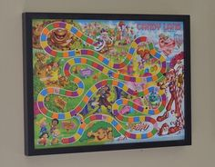 Game board storage and wall art IN ONE --- reverse shadow box with pieces hanging behind