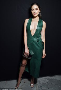Model behaviour: Olivia Culpo proved just why she won the title as she attended the Mugler A/W show for Paris Fashion Week on Saturday