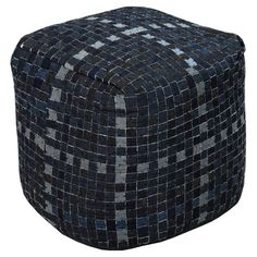Surya 18 in. Checkered Cube Cotton Pouf