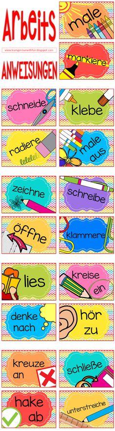 Arbeitsanweisungen für die Grundschule. Verwendbar als Poster für Klassenzimmer oder Tafel. Auch geeignet als Flash Cards, zum einfachen lernen der üblichsten Arbeitsanweisungen. Sehr hilfreich für DaF-Unterricht, Willkommensklassen und Grundschule.