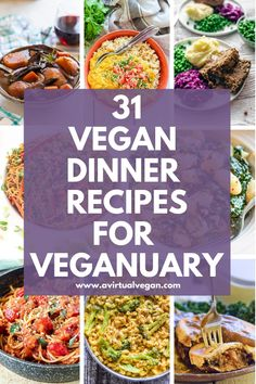 Make Veganuary easy with this collection of 31 super tasty vegan dinner recipes. One for every single day of the month! Make Veganuary easy with this collection of 31 super tasty vegan dinner recipes. One for every single day of the month! Vegan Dinner Recipes, Veggie Recipes, Whole Food Recipes, Vegetarian Recipes, Cooking Recipes, Healthy Recipes, Easy Vegan Dinner, Spinach Recipes, Vegan Diner