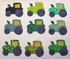 Set of 9 Green Farm Tractor  Iron-0n Cotton Fabric Quilting Apparel Appliques #handmade
