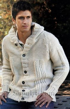 Knitted men's jacket with a hood spokes