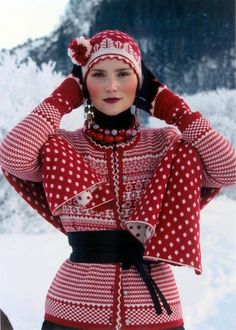 Have you heard about Oleana? If not, here is some great news for everyone who loves quality knitted garments! Since the Norwegian company Oleana has knitted beautiful cardigans, sweaters, sca… Fair Isle Knitting, Beautiful People, Knit Crochet, Knitwear, Winter Hats, Costume, Style Inspiration, My Style, Folk Style