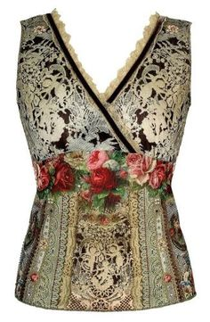 Michal Negrin Sleeveless V-Neck Top Enhanced with Lace Like and Victorian Roses Motifs, Swarovski Crystals, Lace and Velvet Trim; Handmade in Israel - Size M Michal Negrin,http://www.amazon.com/dp/B0087TAOUC/ref=cm_sw_r_pi_dp_DrK4qb0G1XQ3TWG9