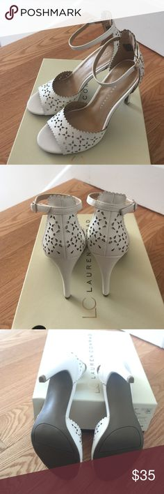 New In Box Lauren Conrad Streamer Heels I'm Obsessed with these! Beautiful eyelet, lace look detail. Ankle strap with goldtone hardware. Never worn, perfect condition. Any questions, please ask! Bundle for an even better discount! LC Lauren Conrad Shoes Heels