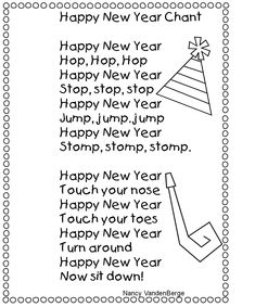 Poetry: Happy New Year poem. Have children do the actions to get the wiggles out. Preschool Music, Preschool Themes, Preschool Classroom, Kindergarten Music, Preschool Winter, Kindergarten Graduation, Classroom Ideas, New Year Eve Song, New Years Song