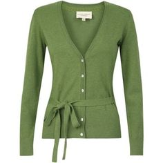 Green Belted V-Neck Cardigan - Laura Ashley - Polyvore