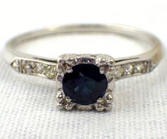 Vintage Art Deco Engagement Ring Platinum Ring by My3LadiesJewelry, $695.00